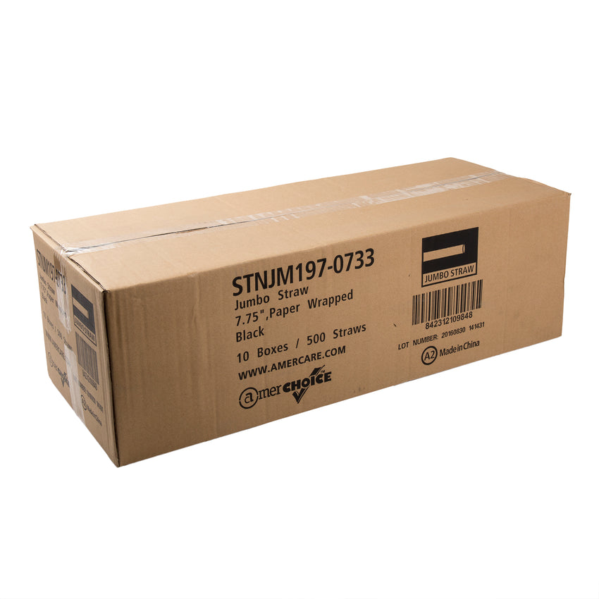 "7.75"" Jumbo Black Straw, Paper Wrapped, Closed Case"