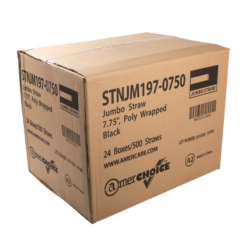 "7.75"" Jumbo Black Straw, Poly Wrapped, Closed Case"