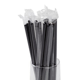 "7.75"" Jumbo Black Straw, Poly Wrapped, Straws In A Glass, Zoomed In"