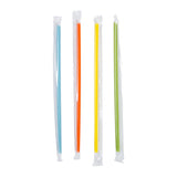 "7.75"" Jumbo Mixed Colors Straws, Poly Wrapped, View Of Unwrapped Straws"