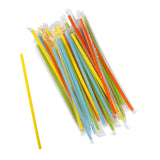 "7.75"" Jumbo Mixed Colors Straws, Poly Wrapped, Group Image"