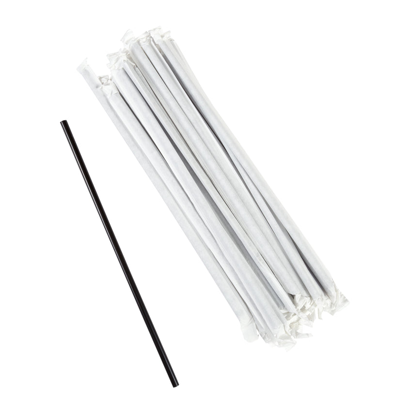 "10.25"" Jumbo Straw, Black, Paper Wrapped, Group Image"