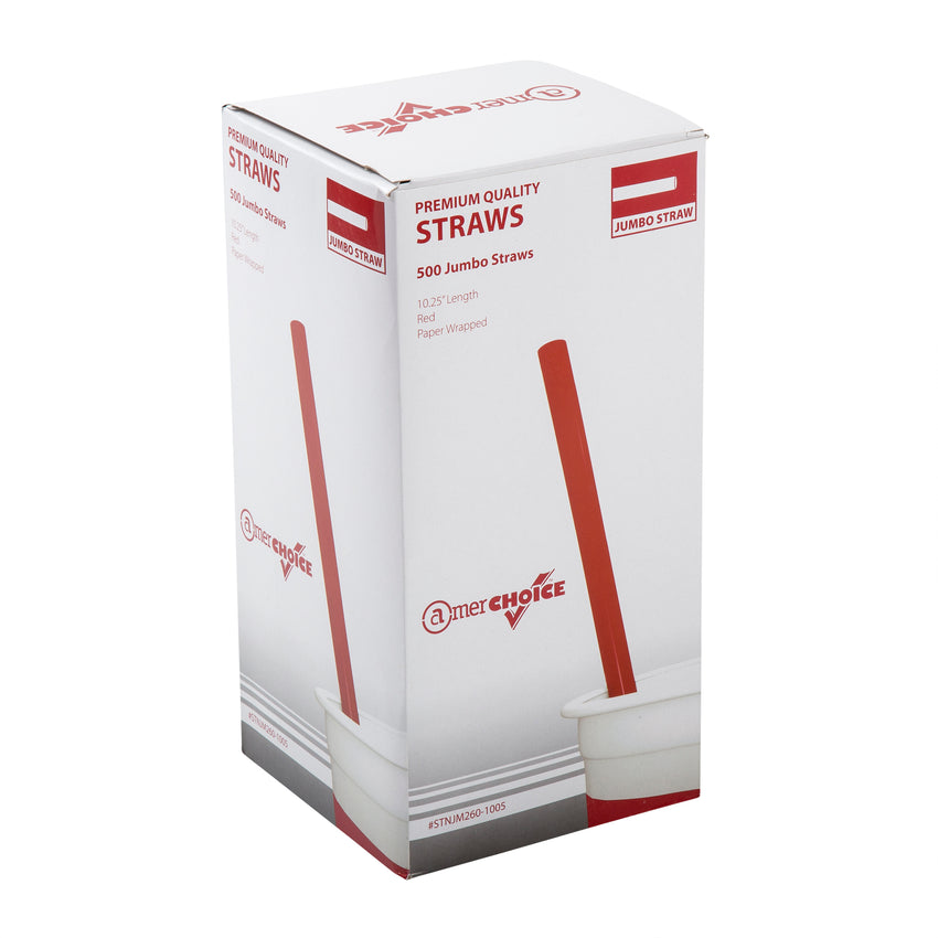 "10.25"" Jumbo Straw, Red, Paper Wrapped, Inner Package"
