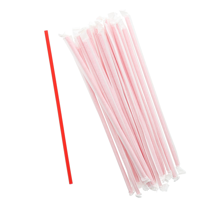 "10.25"" Jumbo Straw, Red, Paper Wrapped, Group Image"