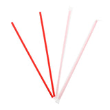 "10.25"" Jumbo Straw, Red, Paper Wrapped, Two Unwrapped Straws and Two Wrapped Straws"