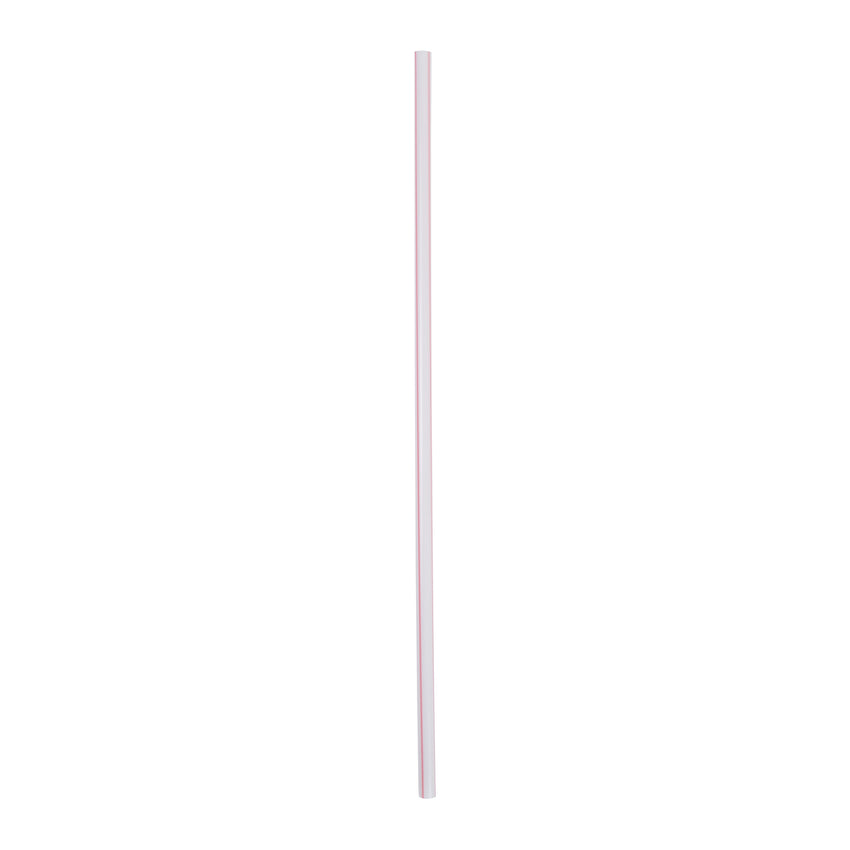 "10.25"" Jumbo Straw, White With Red Stripe, Paper Wrapped, View of Unwrapped Straw"