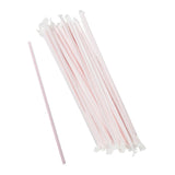 "10.25"" Jumbo Straw, White With Red Stripe, Paper Wrapped, Group Image"