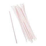 "10.25"" Jumbo Straw, White With Red Swirl Stripe, Paper Wrapped, Group Image"