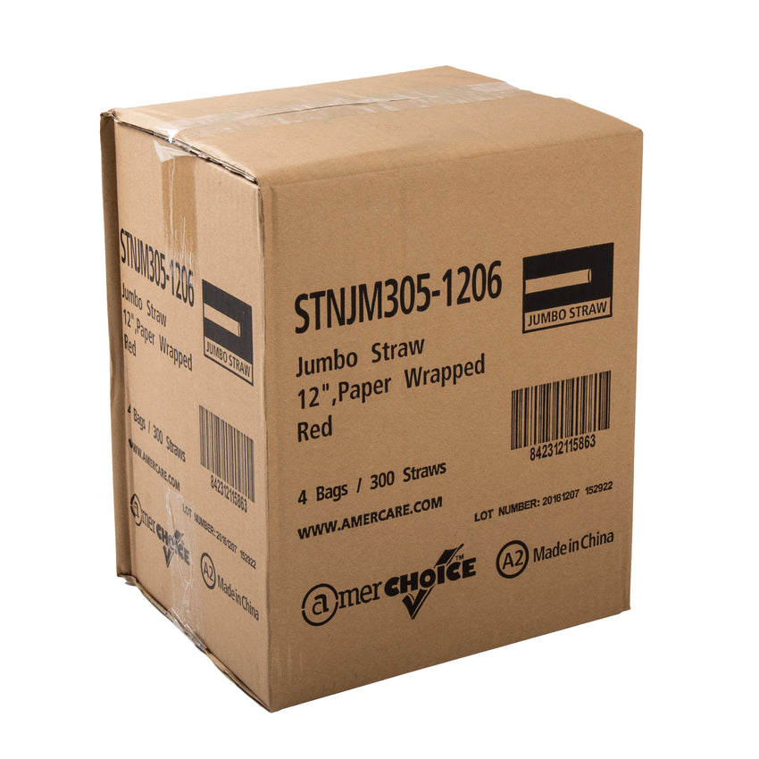 "12"" Jumbo Red Straw, Paper Wrapped, Closed Case"