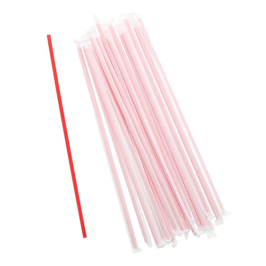 "12"" Jumbo Red Straw, Paper Wrapped, Group Image"
