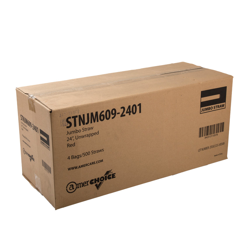 "24"" Jumbo Red Straw, Unwrapped, Closed Case"