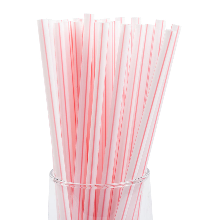 "7.75"" Giant White With Red Stripe Straw, Unwrapped, Group Image, Straws In A Glass, Zoomed In"