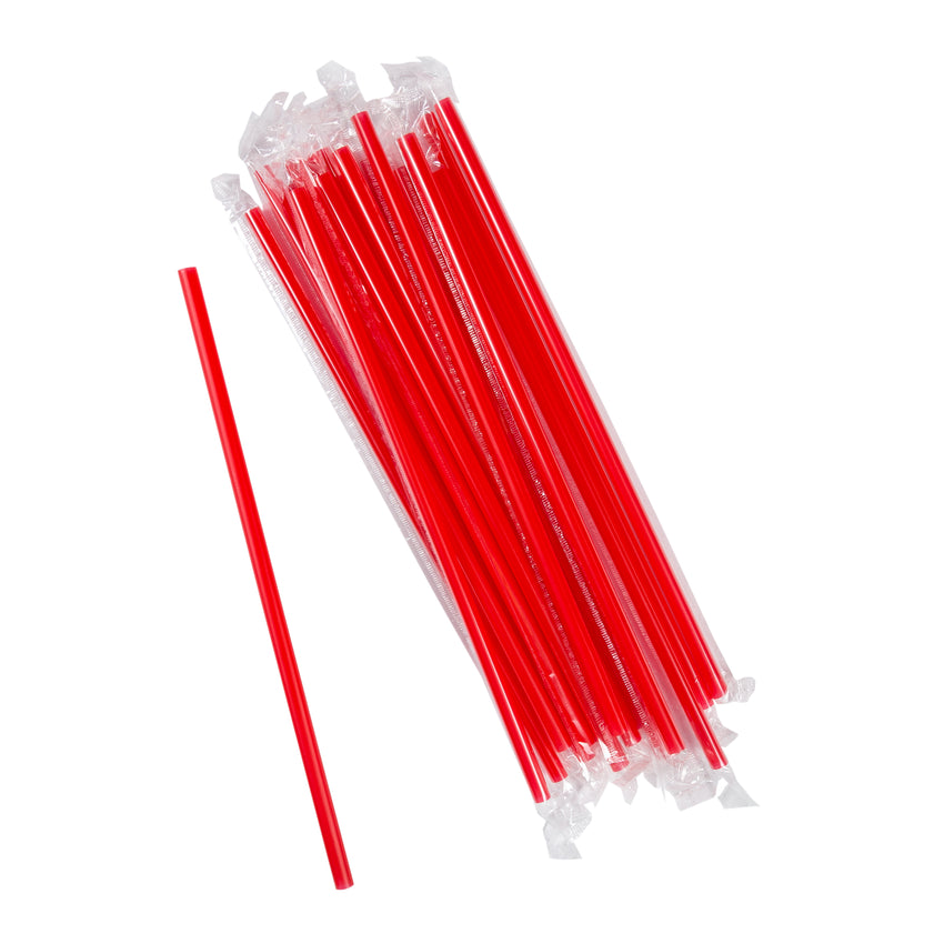 "10.25"" Giant Straw, Red, Poly Wrapped, Group Image"