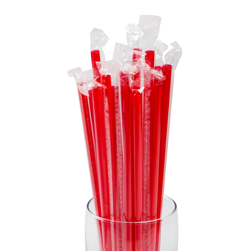 "10.25"" Giant Straw, Red, Poly Wrapped, Detailed View Of Wrapped Straws In A Glass"