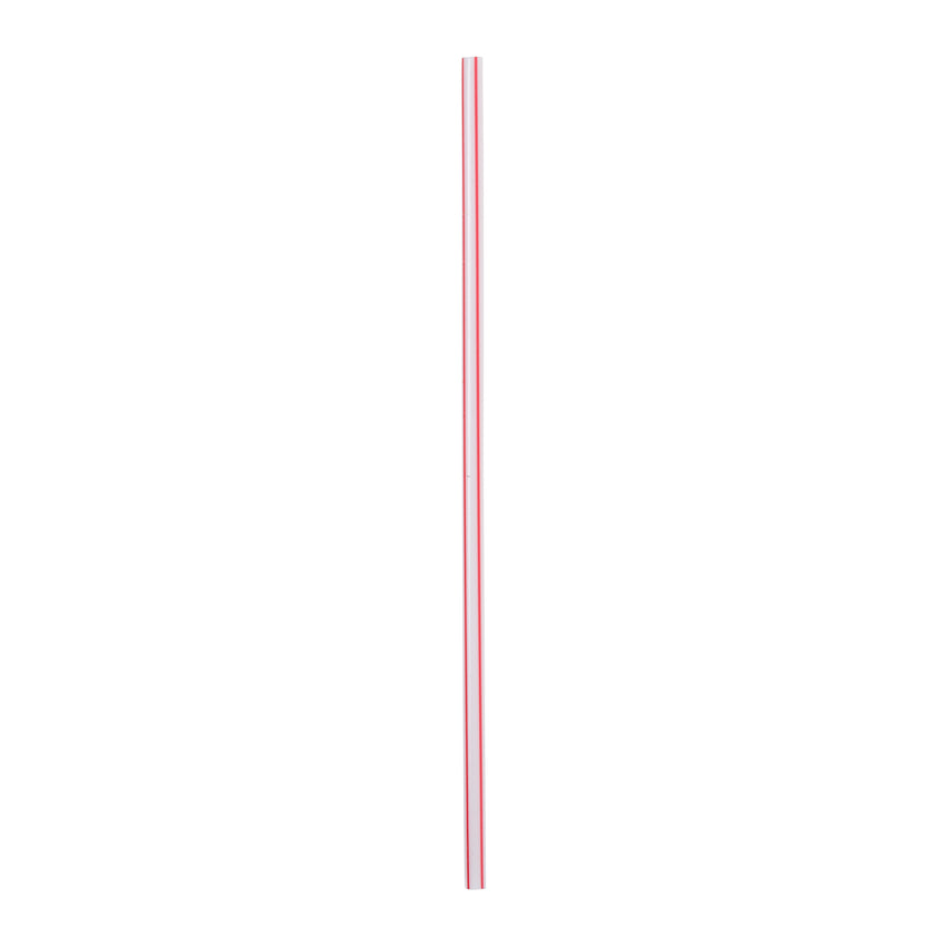 "5"" White With Red Stripe Stirrer Straw, Unwrapped"
