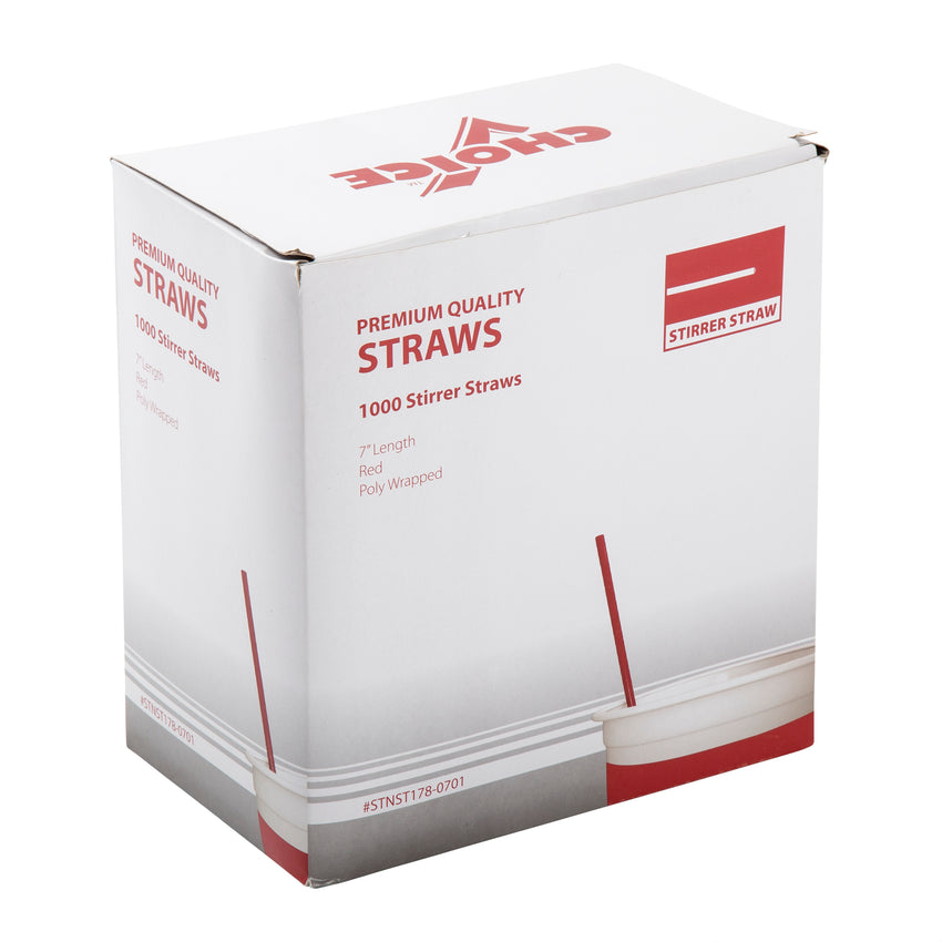 "7"" Red Stirrer Straw, Poly Wrapped, Inner Package"