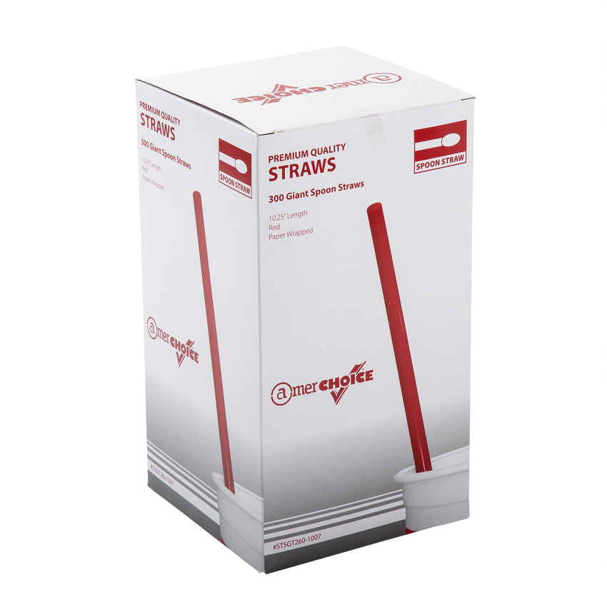 "10"" Giant Red Spoon Straws, Poly Wrapped, Inner Package"