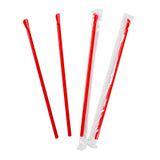 "10"" Giant Red Spoon Straws, Poly Wrapped, Group Image, Fanned Out Straws"