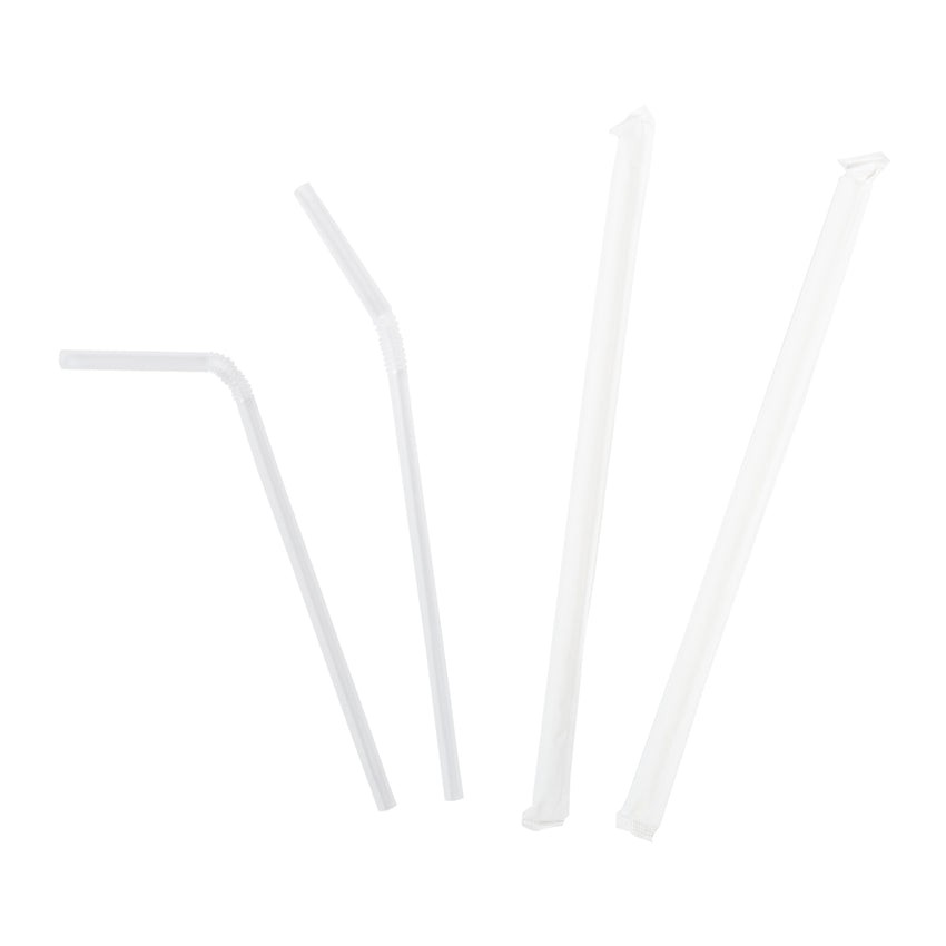 "7-5/8"" Jumbo Flex Clear Straw, Paper Wrapped, Group Image"
