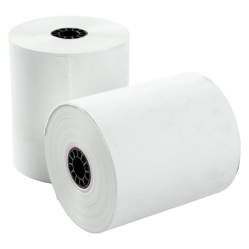 "POS Tray, 3-1/8"" x 200' 1 Ply Thermal Register Rolls, Photo of Two Rolls"