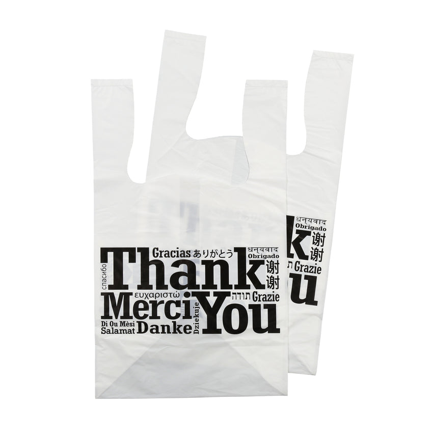 "FLAT BOTTOM MULTILINGUAL T-SHIRT BAG 11.5"" X 10.5"" X 19"", Two Bags Stacked"