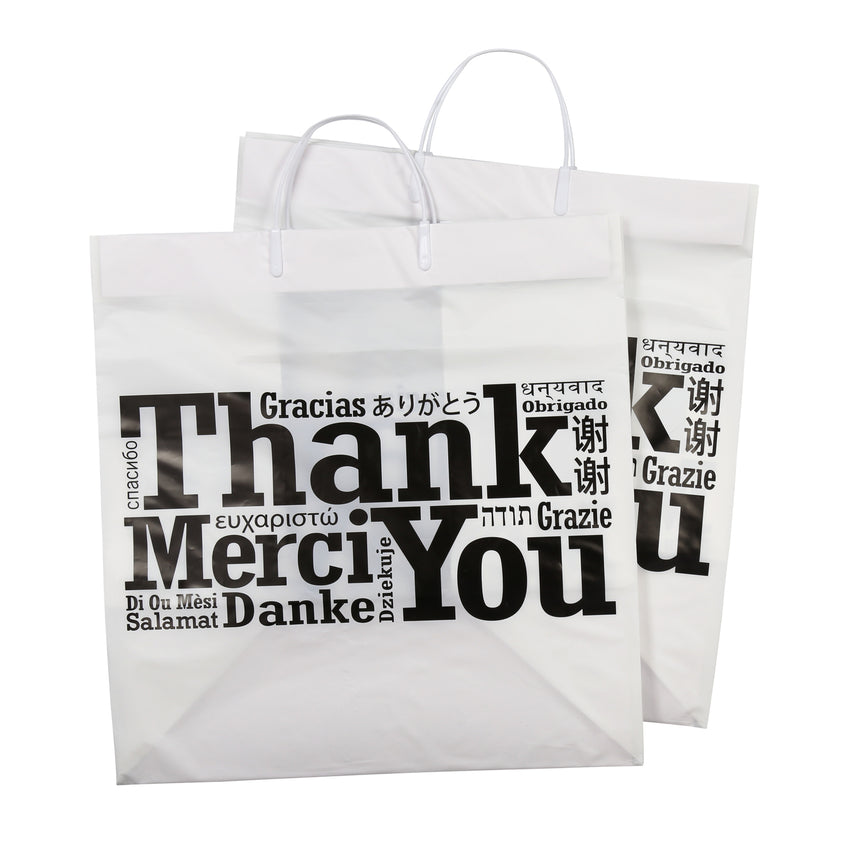 "RIGID HANDLED MULTILINGUAL SHOPPING BAG 14"" X 10"" X 15"", Two Bags Stacked"