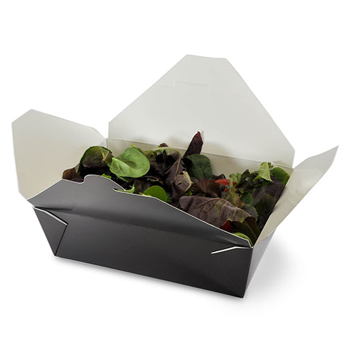 "Black Folded Takeout Box, 7-3/4"" x 5-1/2"" x 2-1/2"", with food"