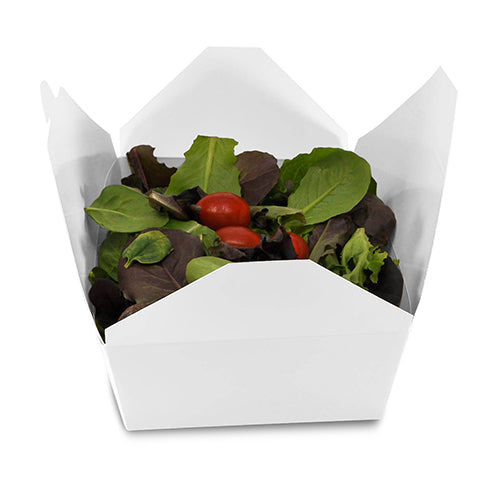 "White Folded Takeout Box, 7-3/4"" x 5-1/2"" x 2-1/2"", with food"