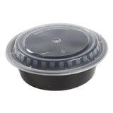 32 Oz Round Black To-Go Container with Clear Lid Combo