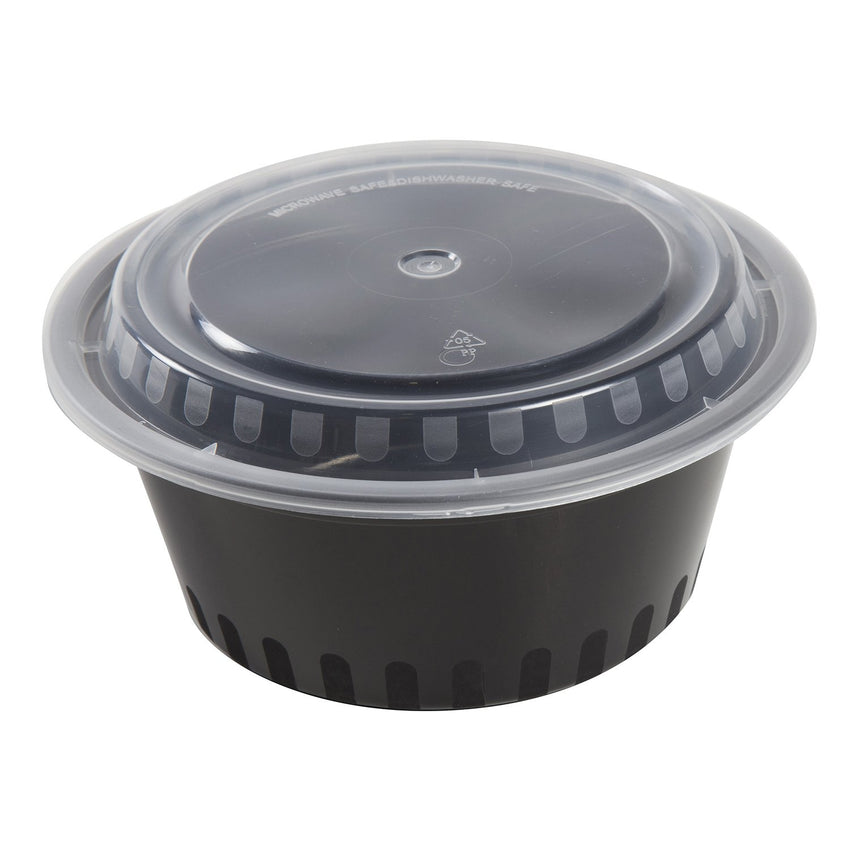 38 Oz Round Black To-Go Container with Clear Lid Combo