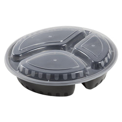 33 Oz Round Black To-Go 3-Compartment Container with Clear Lid Combo