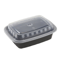 12 Oz Rectangular Black To-Go Container with Clear Lid Combo