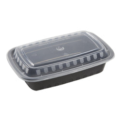 24 Oz Rectangular Black To-Go Container with Clear Lid Combo