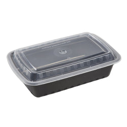 32 Oz Rectangular Black To-Go Container with Clear Lid Combo