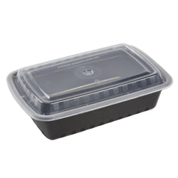 38 Oz Rectangular Black To-Go Container with Clear Lid Combo