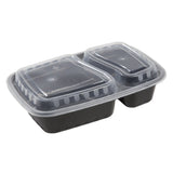 32 Oz Rectangular Black To-Go 2-Compartment Container with Clear Lid Combo