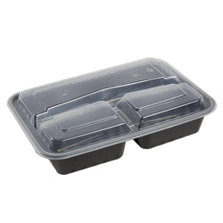 33 Oz Rectangular Black To-Go 3-Compartment Container with Clear Lid Combo