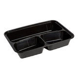 33 Oz Rectangular Black To-Go 3-Compartment Container with Clear Lid Combo, Photo of Container Without Lid