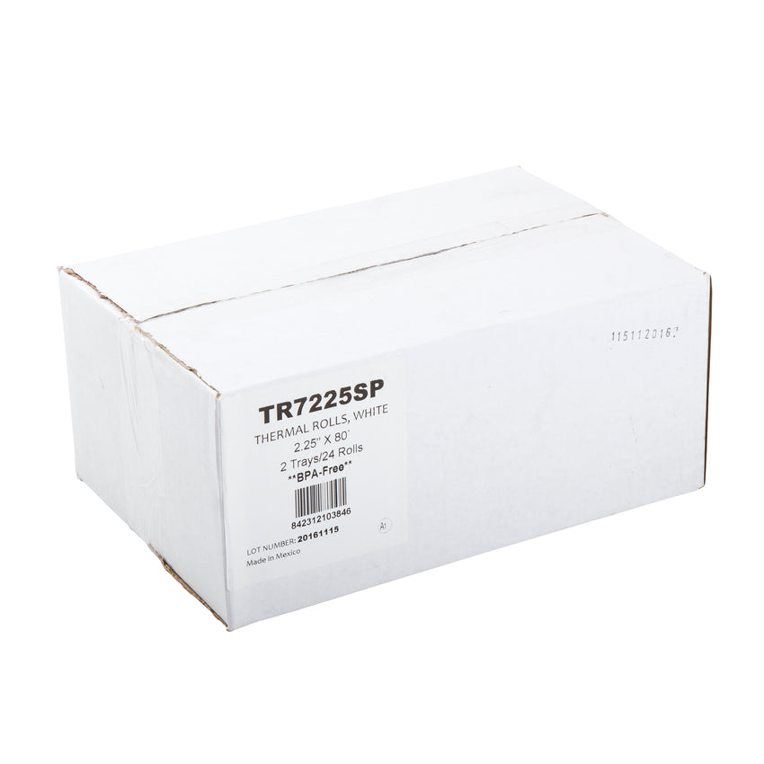 "POS Tray, 2.25"" x 80' 1 Ply Thermal Register Rolls, Closed Case"