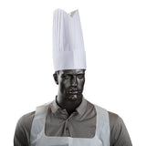 """LE TOQUE"" 12"" VISCOSE PLEATED CHEF HAT, Hat Worn On Mannequin"