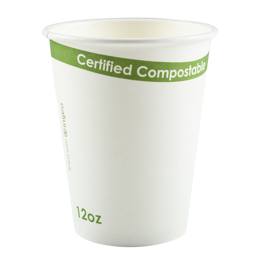 White 12 Ounce Compostable PLA Lined Cups