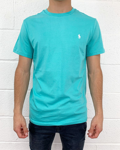 ecfb1797a Custom Fit Crew Neck Short Sleeve T-Shirt in Sea Wave