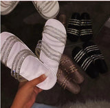 2020 New Women Shiny Slippers Casual Embellished Toe Post Shoes - HiSheep