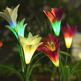 Spring Artificial Lily Solar Garden Stake Lights(1 Pack of 4 Lilies) - HiSheep