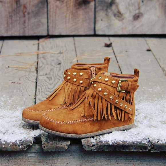 Retro Studded Fringe Booties Zipper Buckle Strap Moccasin Boots - HiSheep