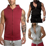 Men's Hooded Running Jacket Sleeveless Cardigan Tops - HiSheep