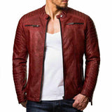 Fashion Men's Stand Collar Zip Stitching Leather Jackets - HiSheep