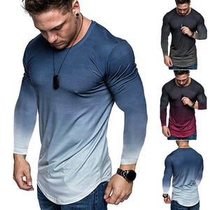 Fashion Gradual Change Thin Section Round Neck T-Shirt - HiSheep