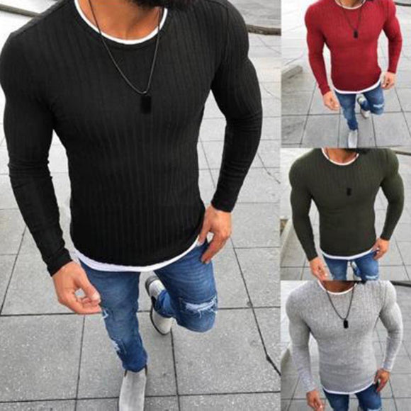 Casual Round Neck Pit Stripe Fake Two Pieces Sweater - HiSheep