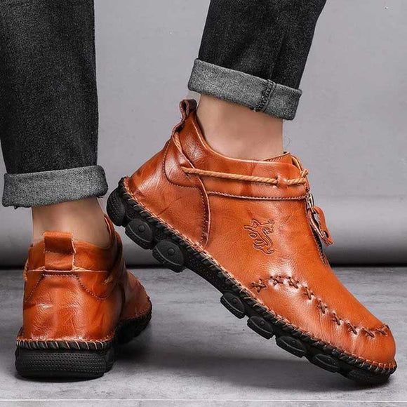 Men Hand Stitching Leather Non Slip Large Size Boots - HiSheep